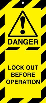 Lockout Safety Tags - Lock Out Before Operation