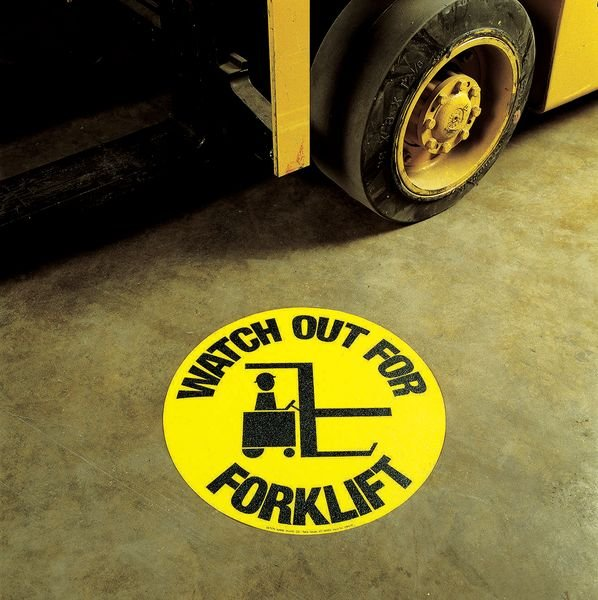 Watch Out Forklift Anti-Slip Circular Floor Markers - Seton