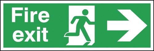 Fire Exit Man/Right Arrow Double-Sided Hanging Signs