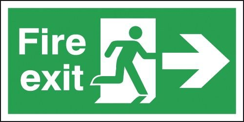Fire Exit Running Man & Arrow Right Signs