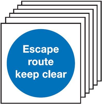 6-Pack Escape Route Keep Clear Signs - Square