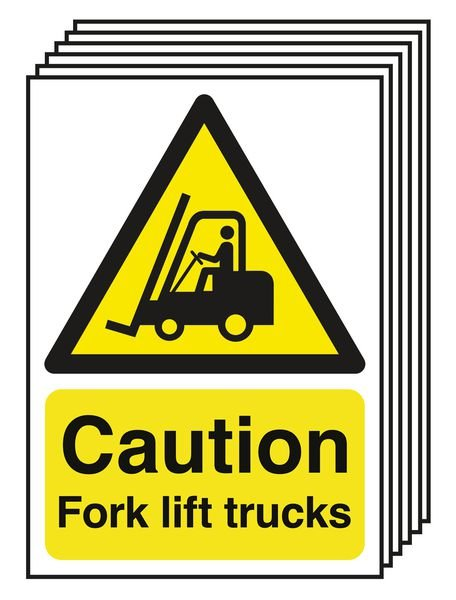 6-Pack Caution Fork Lift Trucks Signs