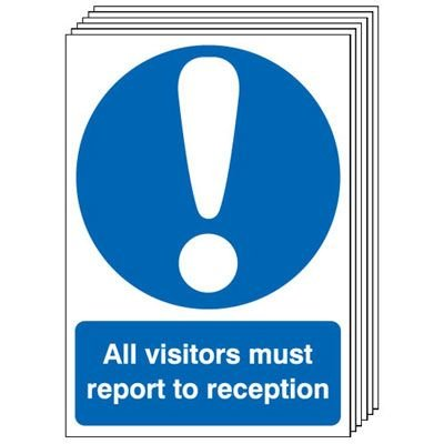 6-Pack All Visitors Must Report To Reception Signs