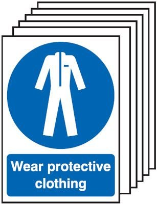 6-Pack Wear Protective Clothing Signs