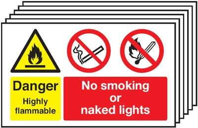6-Pack Danger Highly Flammable/No Smoking Signs