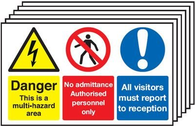 6-Pack Danger/No Admittance/Visitors Report To... Signs