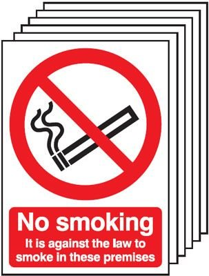 6-Pack No Smoking It Is Against The Law To Smoke Signs