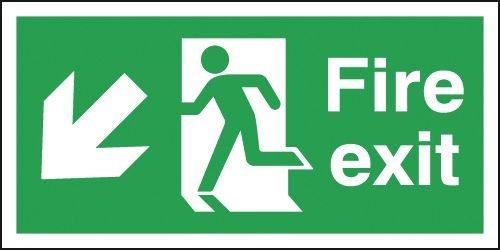 Fire Exit Running Man Left & Diagonal Arrow Down Signs