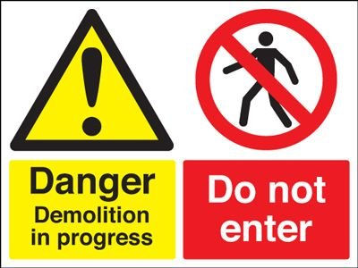 Danger Demolition In Progress Stanchion Sign - Seton