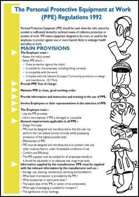 Personal Protective Equipment at Work Wallchart/Guide