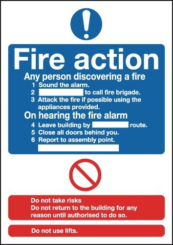 Tabletop Signs - Fire Action (Standard)