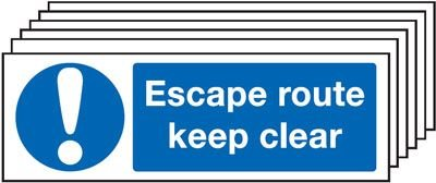 6-Pack Escape Route Keep Clear & Symbol Signs