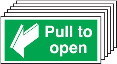 6-Pack Pull To Open & Directional Arrow Signs