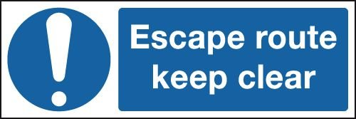 Escape Route Keep Clear & Symbol Signs
