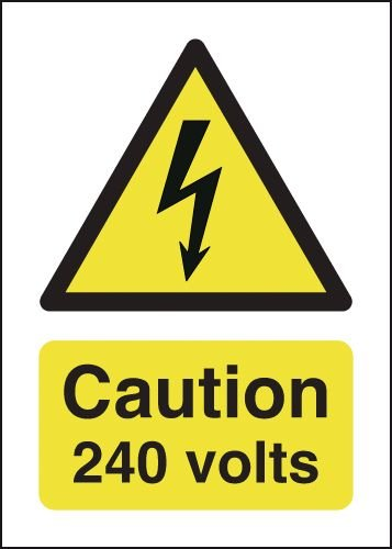 Caution 240 Volts Signs