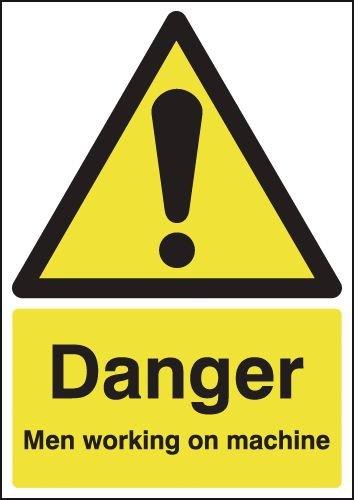 Danger Men Working on Machine Signs