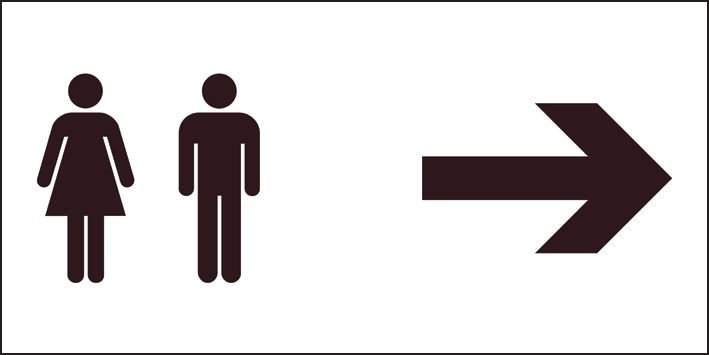 Unisex Toilets (Arrow Right) Sign