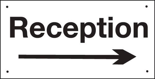 Reception (Arrow Right) Vandal-Resistant Sign