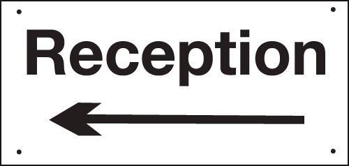 Reception (Arrow Left) Vandal-Resistant Sign