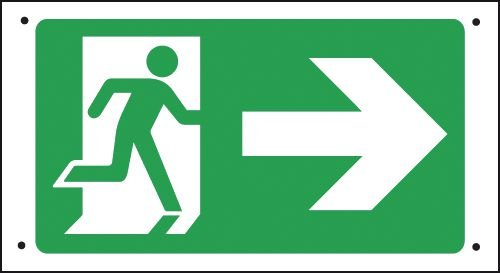 Fire Exit Running Man/Arrow Right Vandal-Resistant Sign