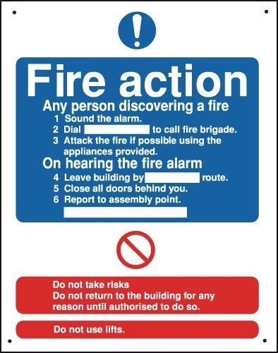Fire Action Vandal-Resistant Sign