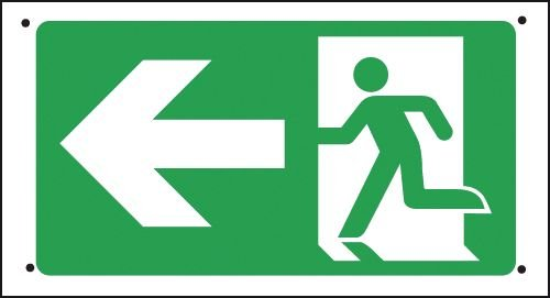 Fire Exit (Arrow Left) - Vandal-Resistant Sign