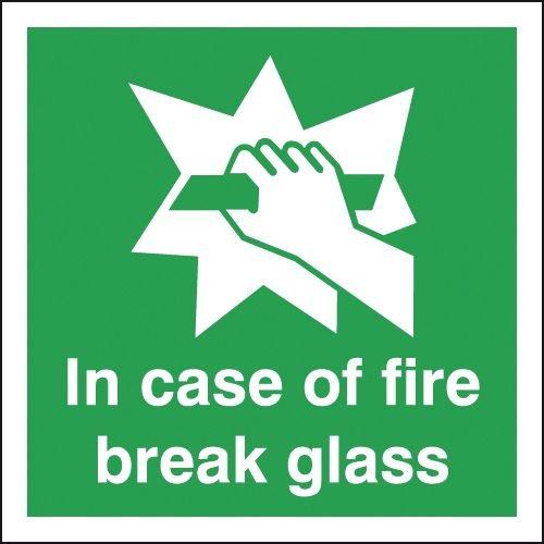 In Case Of Fire Break Glass Signs