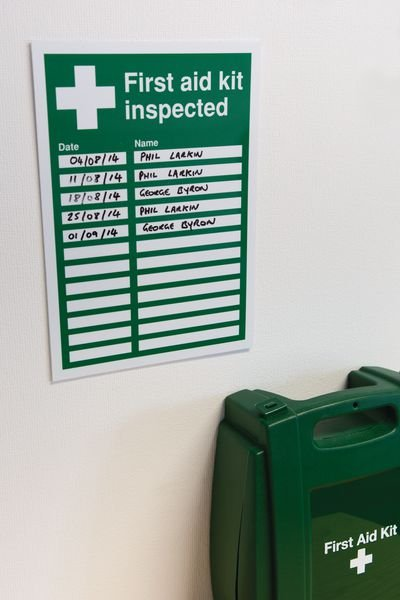 Wipe-To-Change First Aid Sign - First Aid Kit Inspected - Seton