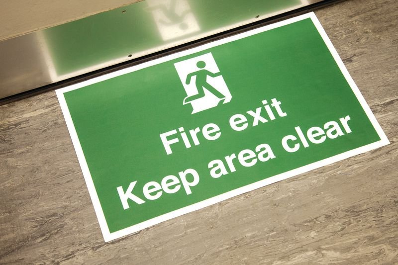 Fire Exit Keep Area Clear Anti-Slip Floor Sign - Seton