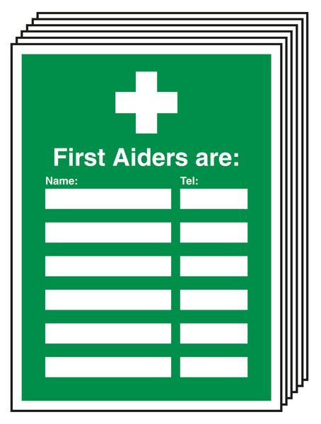 6-Pack First Aiders Are Update Signs