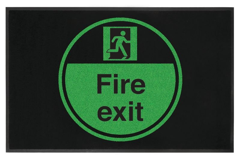 Fire Exit Running Man Right Highly Visible Mats - Seton