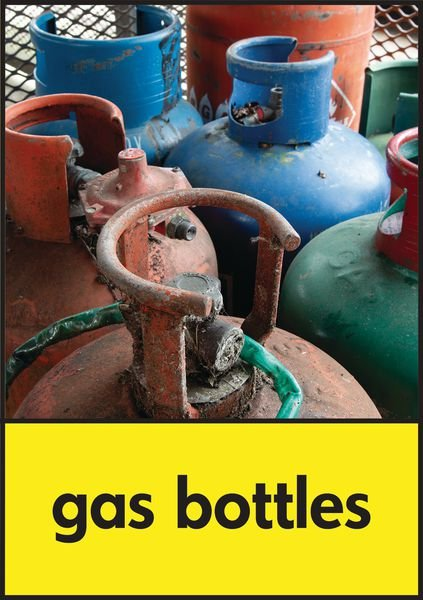 Gas Bottles - WRAP Hazardous Waste Recycling Pictorial Signs