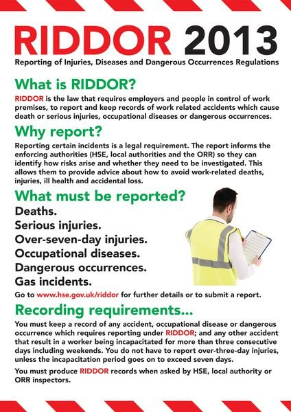 Safety Training Poster - RIDDOR
