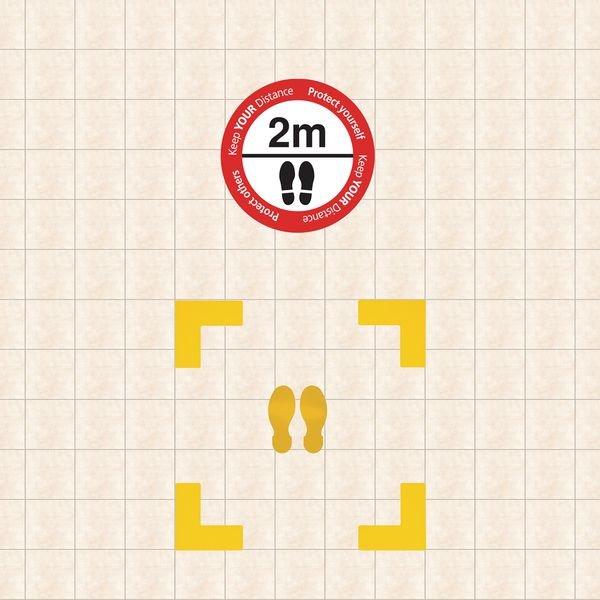 Indoor Social Distancing - Corner & Please Stand 2m Apart Floor Sign Kit - Coronavirus Signage