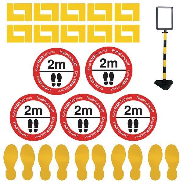 Indoor Social Distancing - Information Sign & Corner Floor Marking Kit