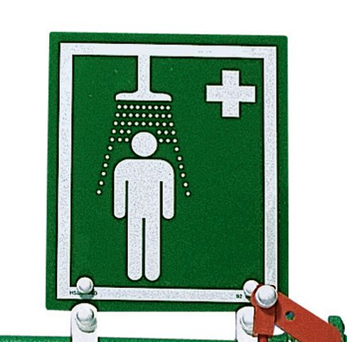 Wall-Mounted Safety Shower Sign & Bracket