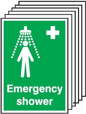 6-Pack Emergency Shower Signs