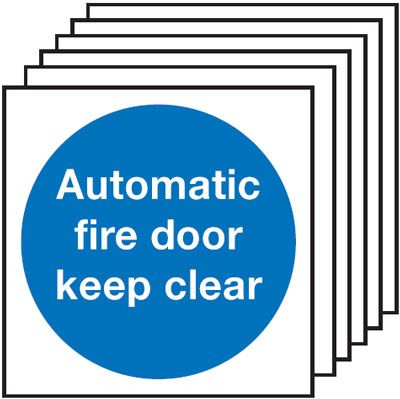 6-Pack Automatic Fire Door Keep Clear Signs