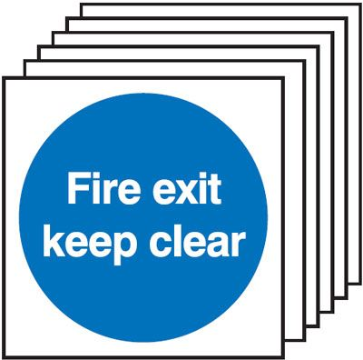 6-Pack Fire Exit Keep Clear Signs