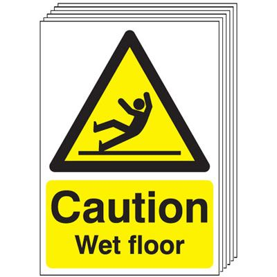 6-Pack Caution Wet Floor Signs