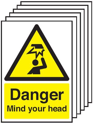 6-Pack Danger Mind Your Head Signs