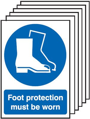 6-Pack Foot Protection Must Be Worn Signs