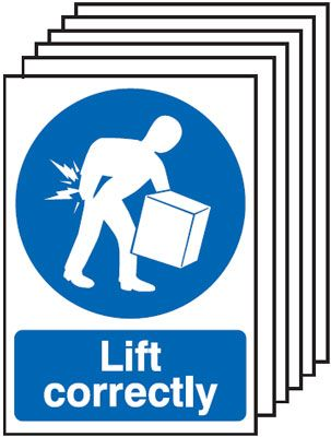 6-Pack Lift Correctly Signs