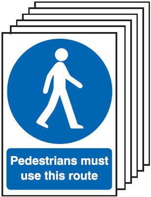6-Pack Pedestrians Must Use This Route Signs