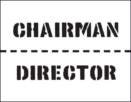 Reusable Industrial Marking Stencil - Chairman/Director