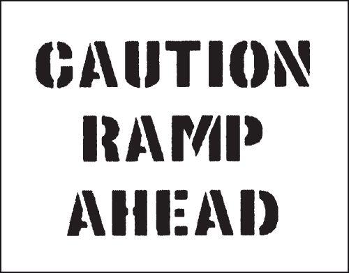 Reusable Industrial Marking Stencil- Caution Ramp Ahead