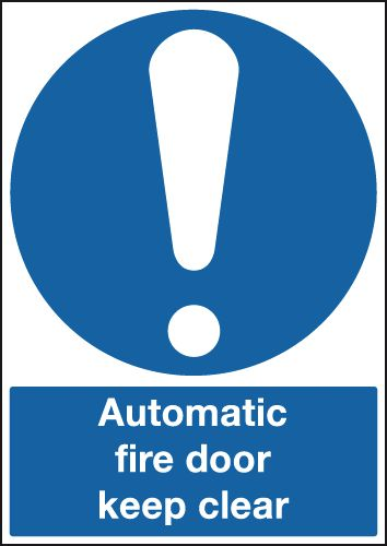 Automatic Fire Door Keep Clear With Symbol Signs Seton Uk
