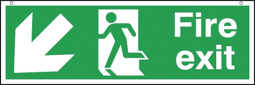 Fire Exit Man/Left Diagonal Down Arrow Hanging Signs
