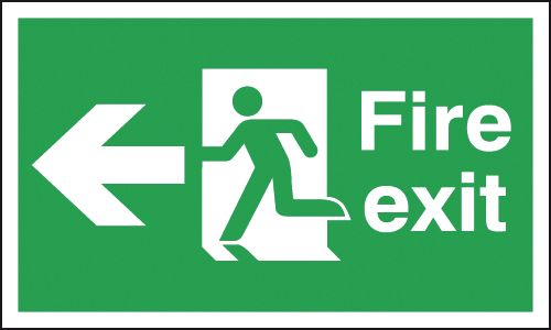 Fire Exit Man/Left Arrow Double-Sided Hanging Signs