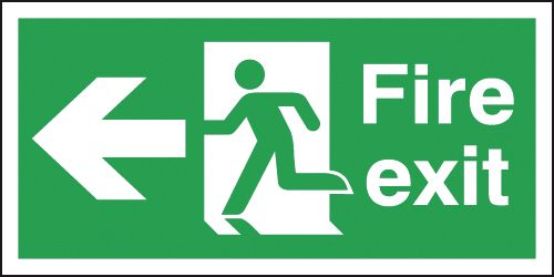 Fire Exit Running Man & Arrow Left Signs